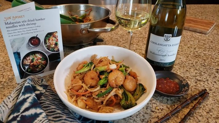Malaysian stir-fried hawker noodles with shrimp with Coolangatta Semillion