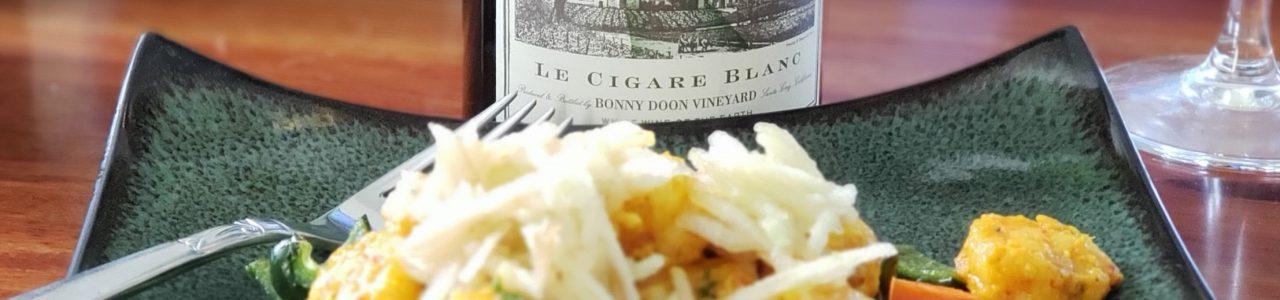 Le Cigare Blanc & Turmeric-mojo shrimp with roasted carrots and poblano