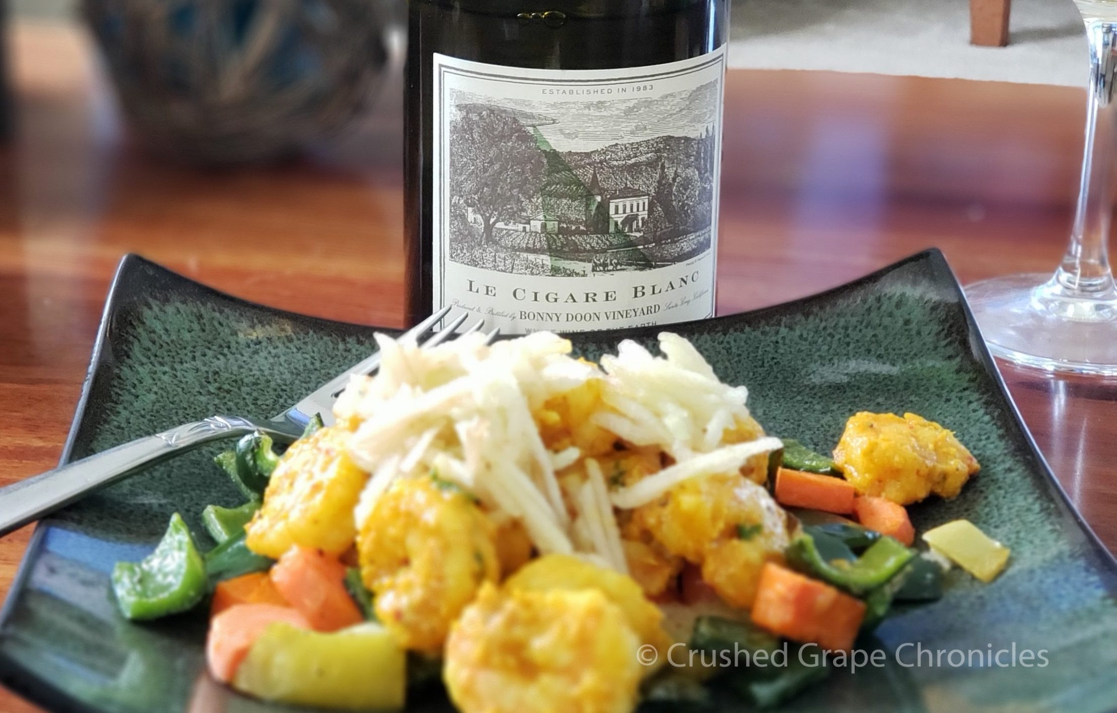 Le Cigare Blanc & Turmeric-mojo shrimp with roasted carrots and poblano