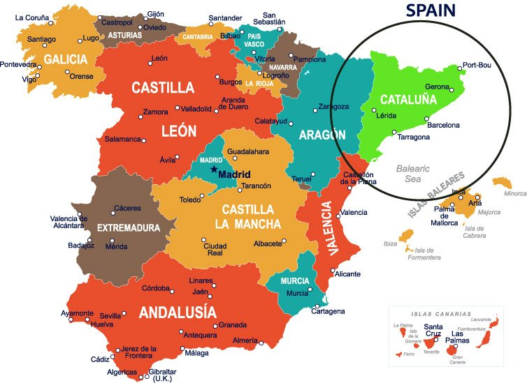 Spanish Provinces Catalunya in Green