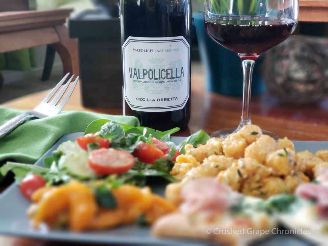 Valpolicella Superiore with gnocchi, pizza and salad