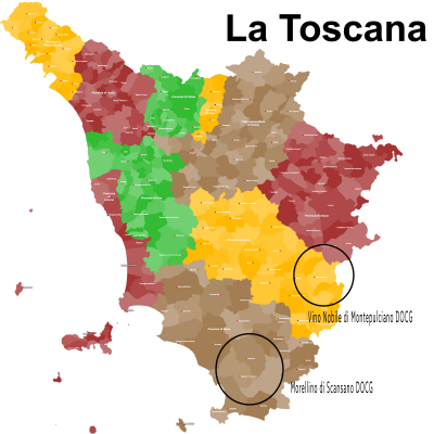 Map of Tuscany with general regions of Vino Nobile di Montepulciano DOCG an Morellino di Scansano DOCG