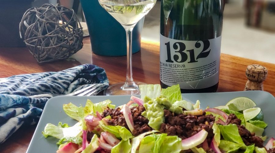 Cava Mestres 1312 and Beef dzik salad recipe from sunbasket food pairing with Crushed Grape Chronicles