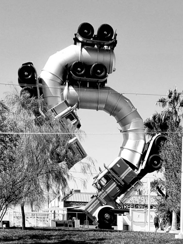 The Big Rig Jig sculpture at Ferguson's Downtown Las Vegas NV. Big Rig Jig is made from two 18-wheelers supported by S-shaped structure