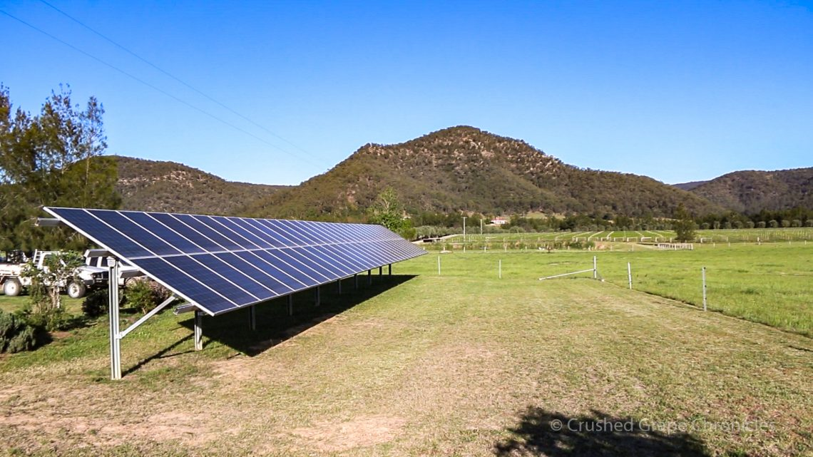 Solar panels at Krinklewood Vineyard Broke in the Hunter Valley of NSW Australia