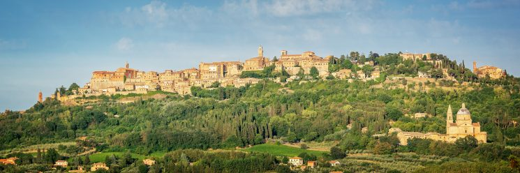 Panoramic view of the medieval village of Montepulciano Tuscany Italy