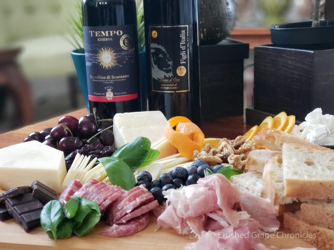 Sangiovese based wines from Tuscany with a cheese plate