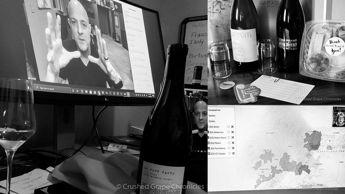 Wine Events online with Virtual tastings, Trade Shows and Seminars. Greg Brewer Winemaker, Mary Jane Evans on speaking on Spanish wines, Wines from Garagiste LV, Glasses from Ferguson's Downtown and Cheese from Cured & Whey