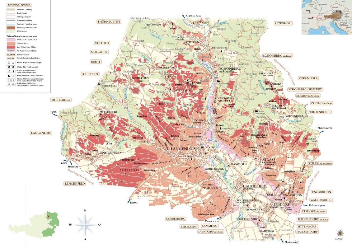 Map of Kamptal Region in Niederosterreich Austria Riedenkarte Kamptal (Stand 2014) © ÖWM Courtesy AWMB