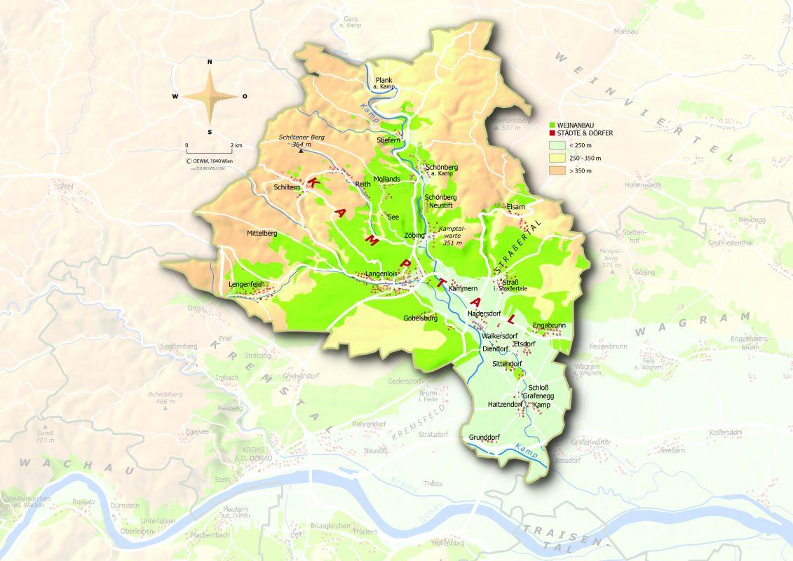 Map of Kamptal in Niederosterreich Austria Topografische Karte Kamptal © ÖWM Courtesy AWMB