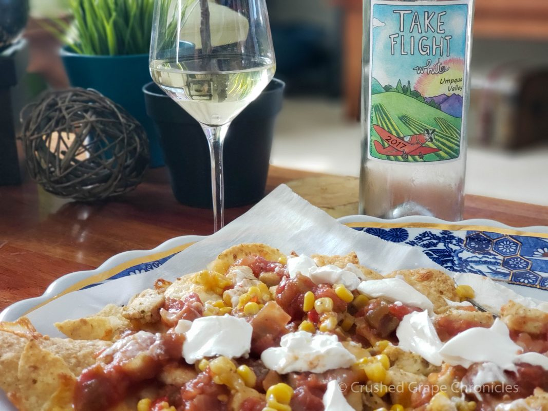 Take Flight White from Girardet Vineyard and nachos. Nachos are a recurring theme.