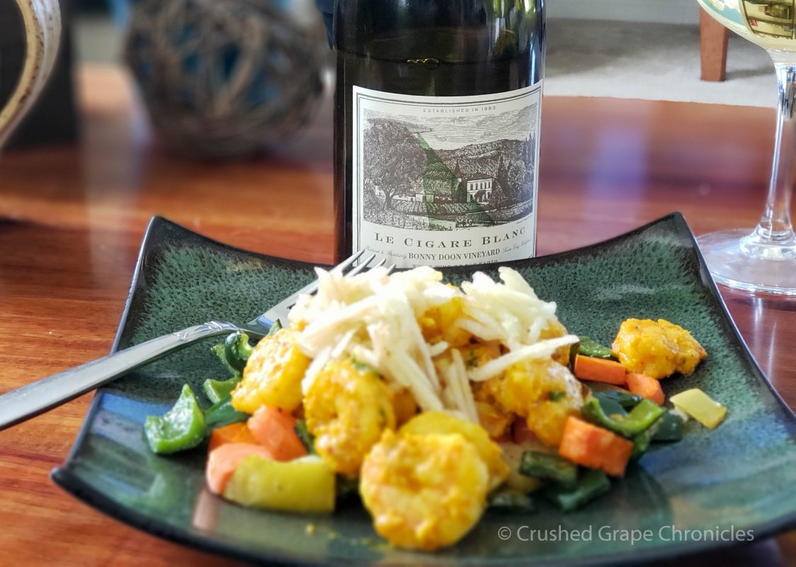 Bonny Doon Vineyard Le Cigar Blanc and Turmeric-mojo shrimp with roasted carrots and poblano from Sun Basket