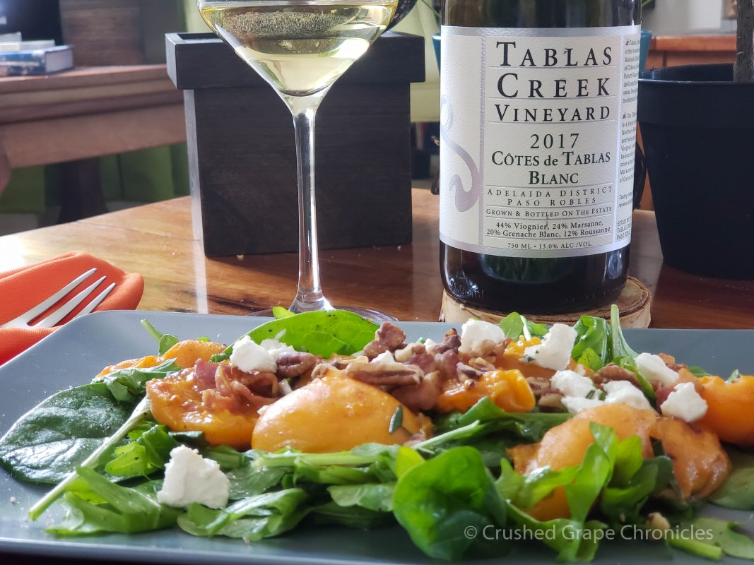 Tablas Creek Cote de Tablas Blanc 2017 with a grilled apricot salad