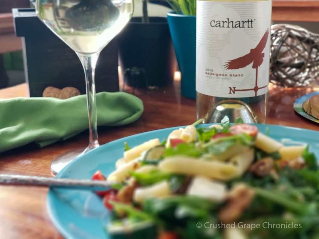 Carhartt 2019 Sav Blanc and a pasta salad