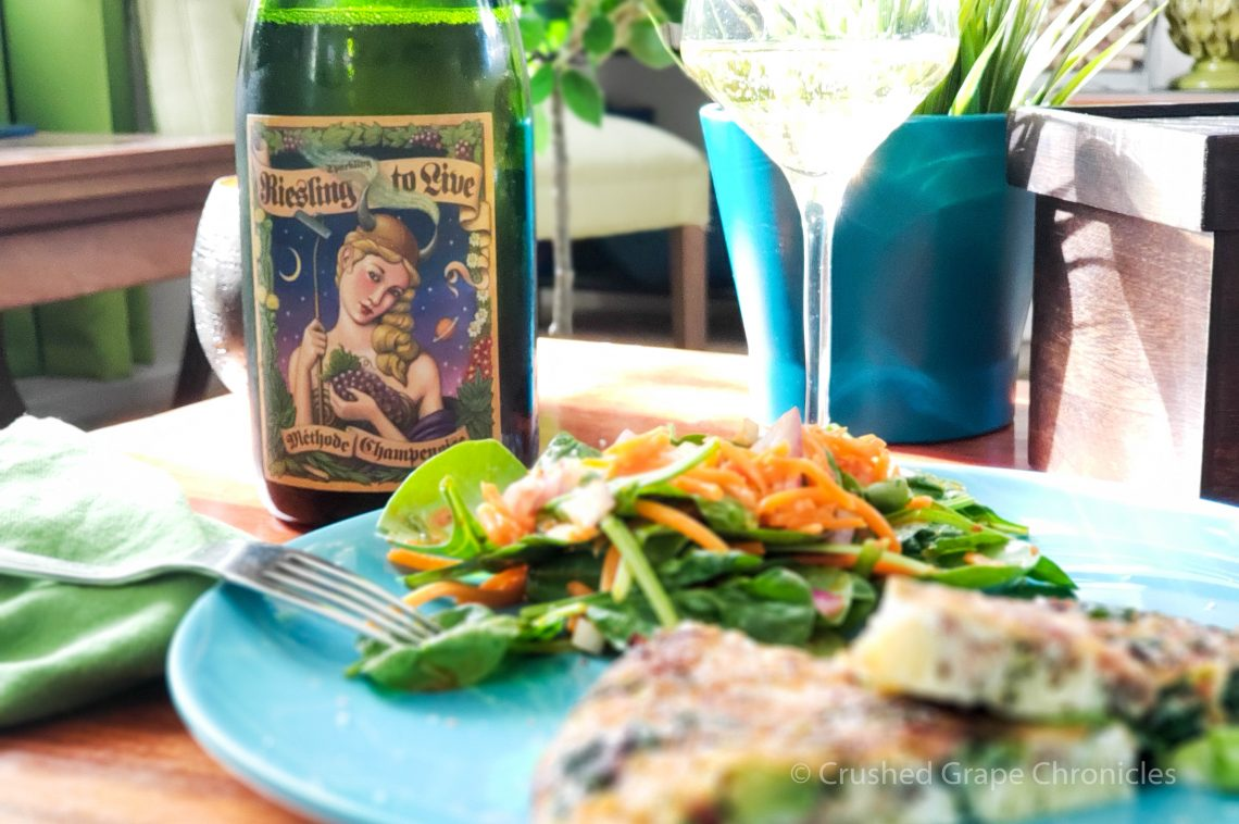 Randall Grahm's Riesling to Live, method Champenois Riesling with a frittata and salad
