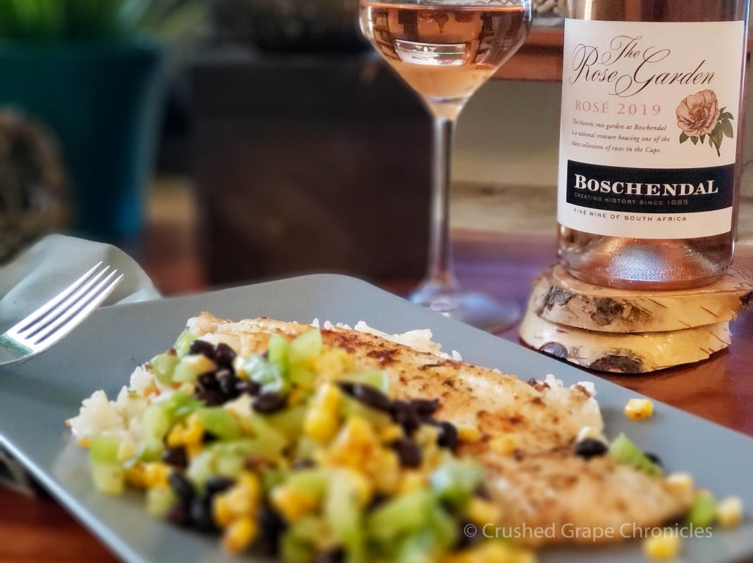 Boschendal 2019 Rose from South Africa's Western Cape with blackened sole and a corn & black bean salsa from Sun Basket