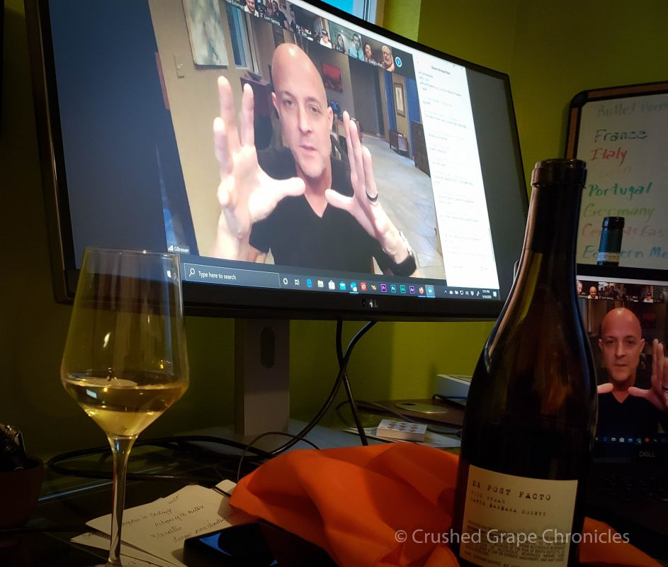 "Greg Brewer of Brewer-Clifton, online with us for the ""Pour in the Alley"" tasting of his wines."
