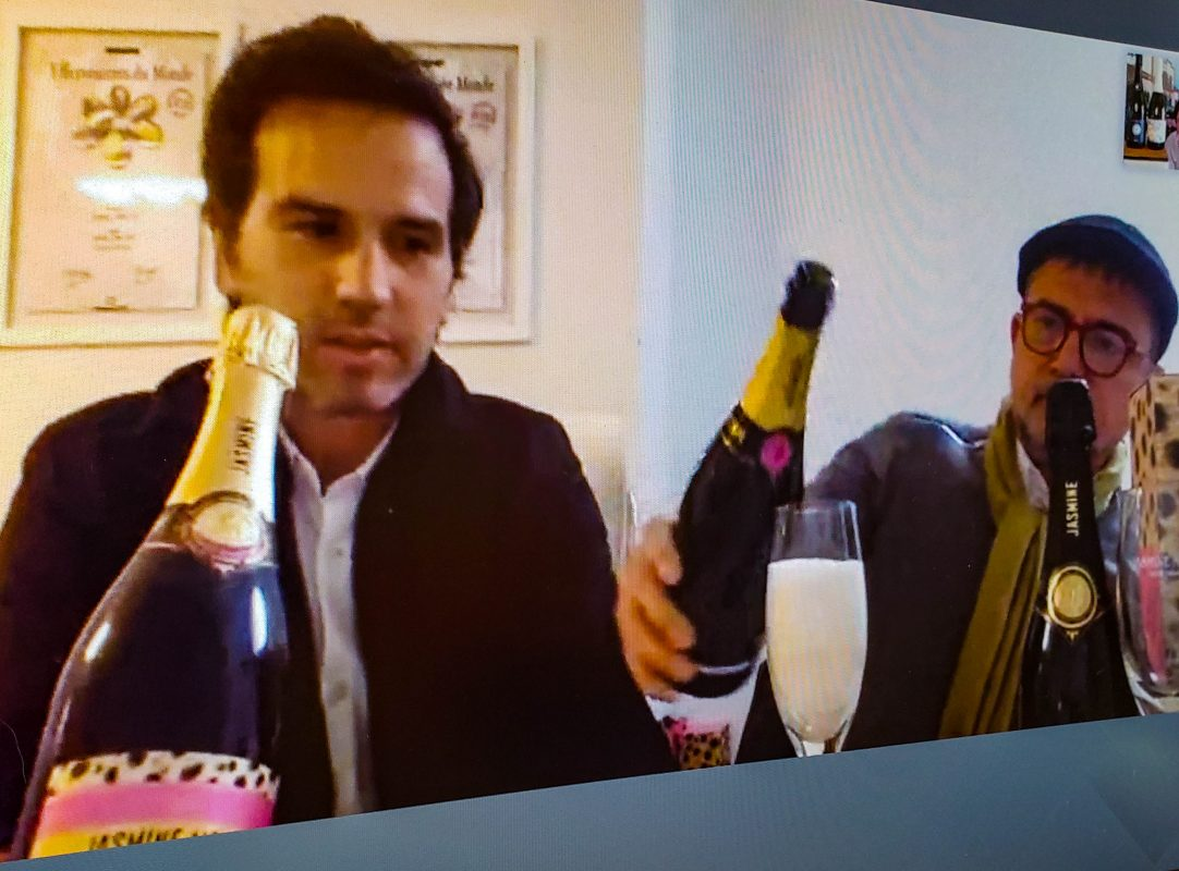 Fernando Cardinali & Julien Mendoza of Jasmine Monet in Argentina, pouring their sparkling wine during Wine Pleasures Sparkling Wine Week