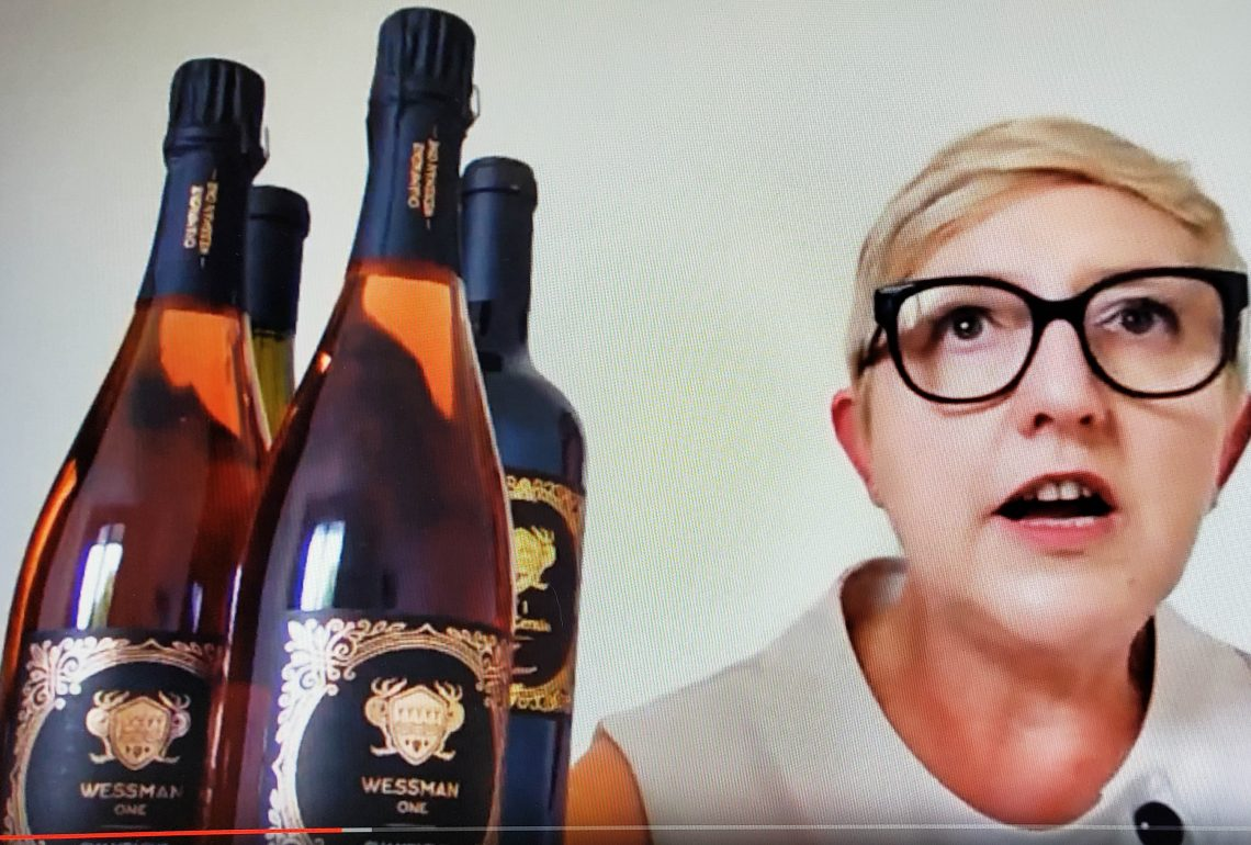Myriam Carrere from Maison Wessman One, speaking on their saturated Pinot Noir Champagne during Wine Pleasures Sparkling Wine Week July 2020