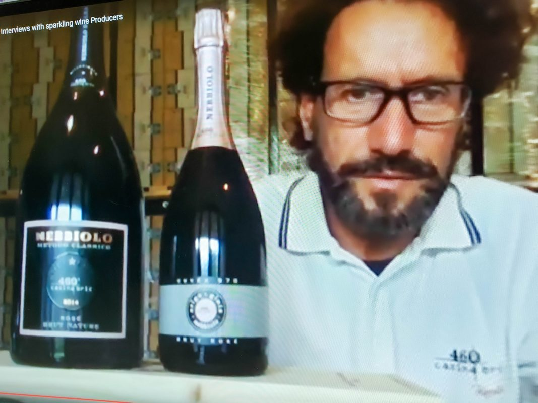 Gianluca Viberti of 460 Casina Bric of Barolo with his sparkling Nebbiolo Wines during Wine Pleasures Sparkling Wine Week July 2020