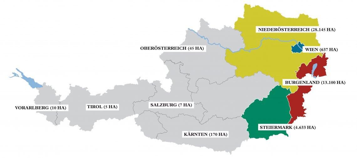General Wine Map for Austrian Regions generische Weinbaugebiete Österreichs © ÖWM / ÖWM courtesy AWMB