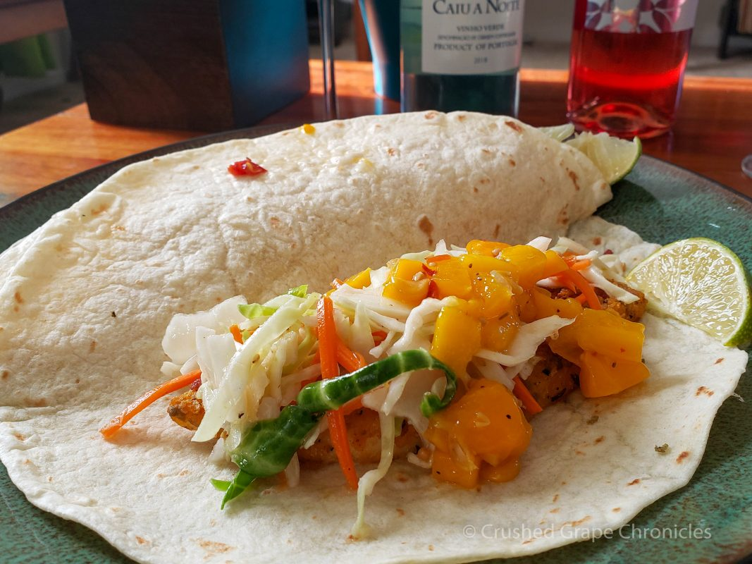 Fish Taco to pair with asian slaw & mango corn salsa