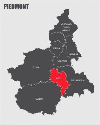Piedmont regional map with Asti (image By luisrftc Adobe Stock)