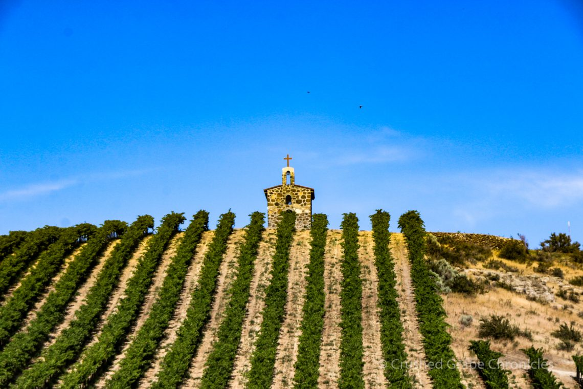 Red Willow Vineyard Chapel on the hill in Yakima Valley AVA in Washington State