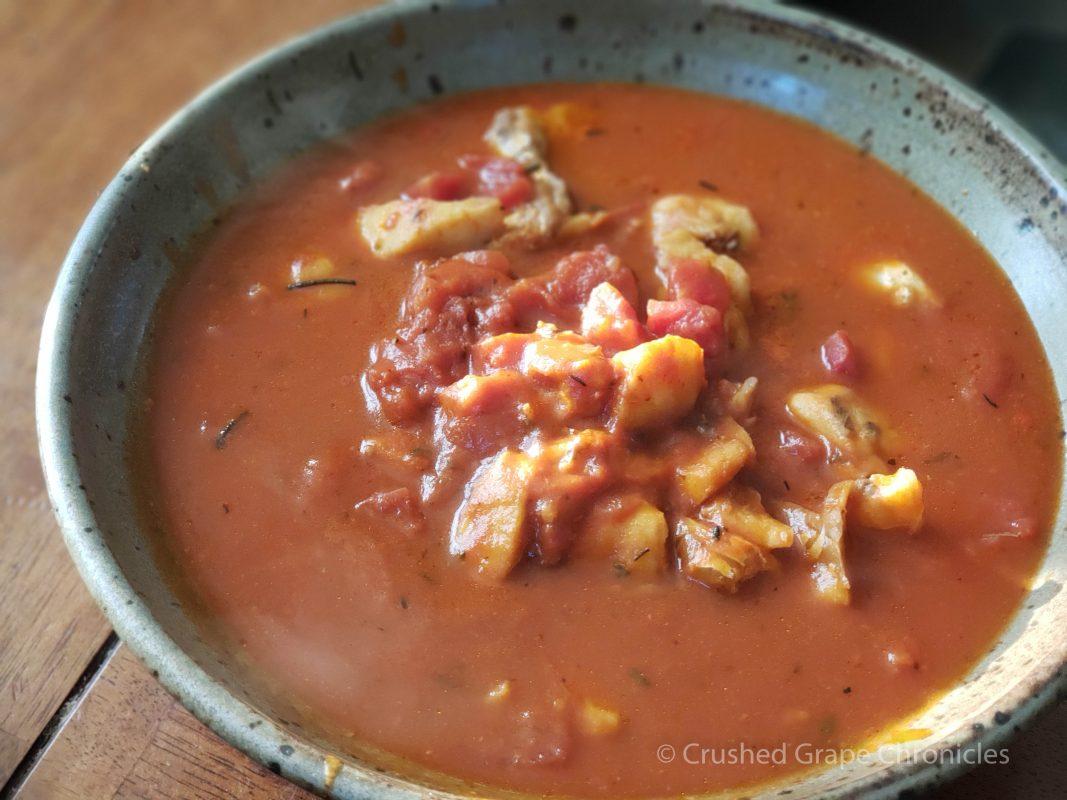 Tomato poached cod