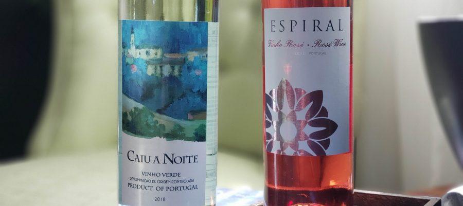 Bottles of Caiu a Noite Vinho Verde and Espiral Vinho Rosé