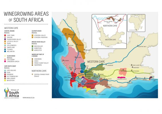 Wine Growing Areas of South Africa - map credit Wines of South Africa