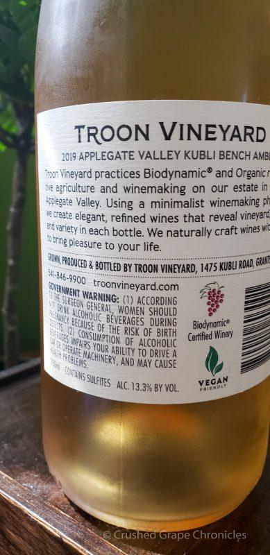 2019 Troon Kubli Bench Amber, Estate Orange Wine, Applegate Valley