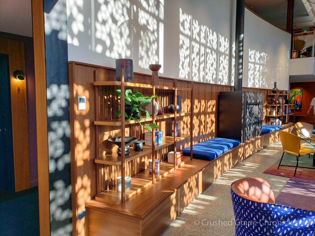 Afternoon sun is dappled in the lounge in the Modern Wing at Byng Street Boutique Hotel in Orange, NSW Australia