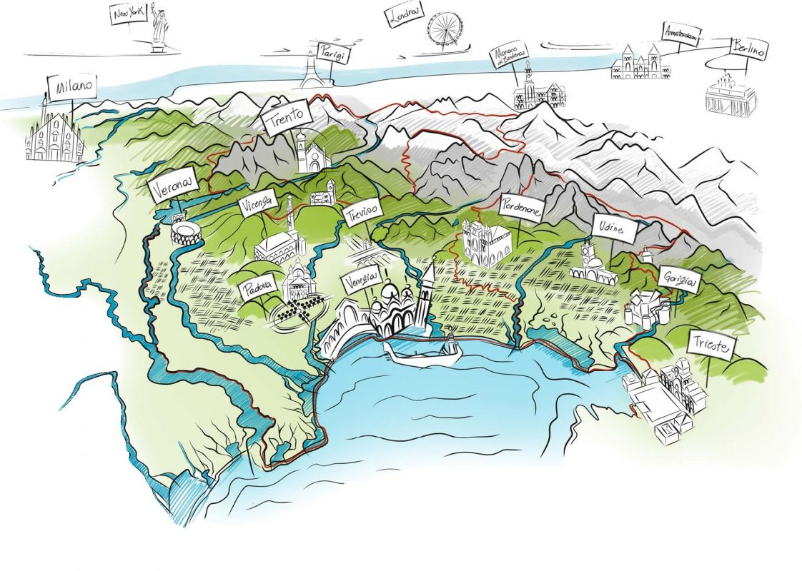 Artist rendition of the Delevenzie region, it's cities and landscape. courtesy Consorzio DOC Delle Venezie