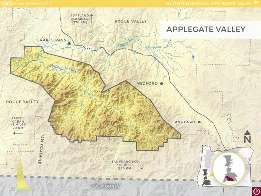 Oregon Wine Map Applegate Valley AVA from Oregon Wine Board