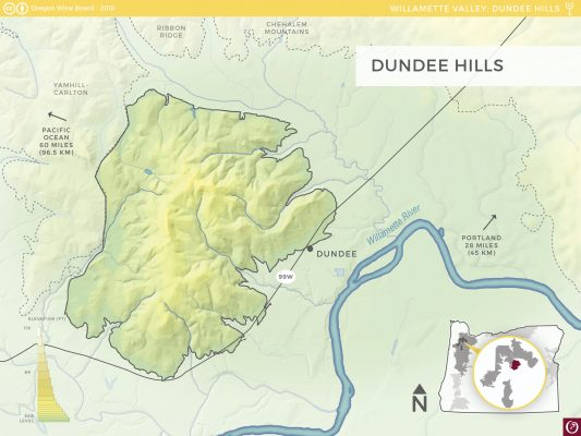 Oregon Wine Map Dundee Hills AVA from Oregon Wine Board