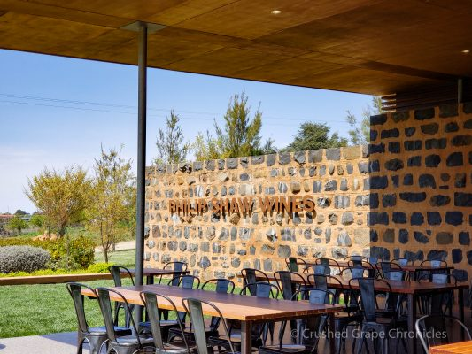 Tastings at Philip Shaw are seated and they have lots of room on their patio Orange NSW Australia