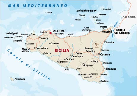 Road map of the italian mediterranean island Sicily By lesniewski Adobe Stock