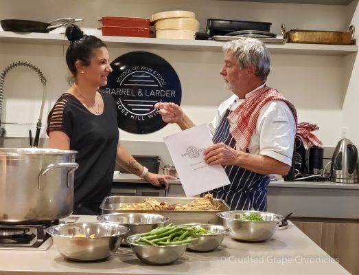Chef Michael Manners prepared us a wonderful dinner at the Barrel & Larder School of Wine & Food here at Ross Hill Orange NSW Australia
