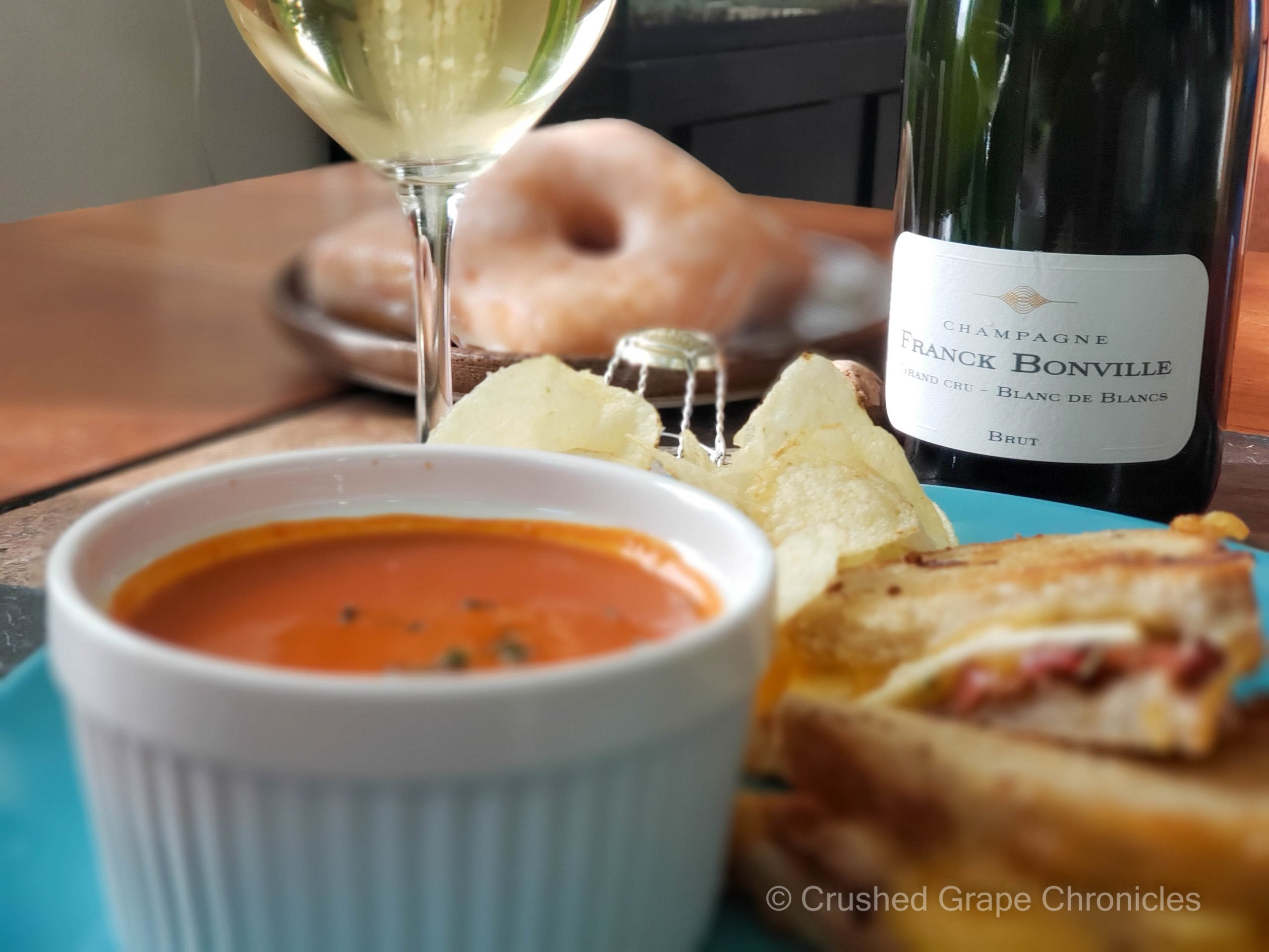 Champagne Franck Bonville Brut Blanc de blanc, Grilled Cheese, Tomato soup, potato chips and glazed donuts