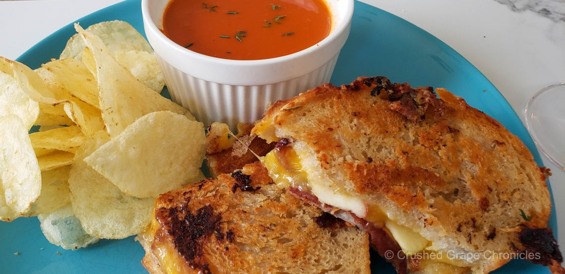 Gourmet Grilled Cheese, tomato roasted pepper soup and potato chips