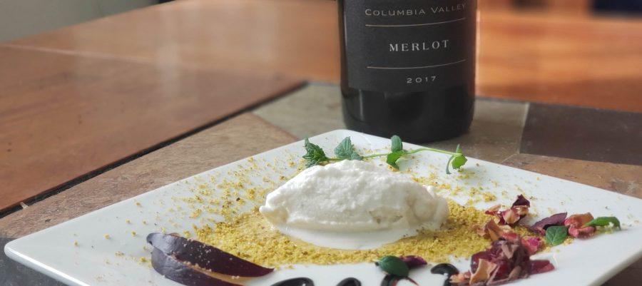 L'Ecole No 41 Columbia Valley 2017 Merlot with bleu cheese ice cream dessert