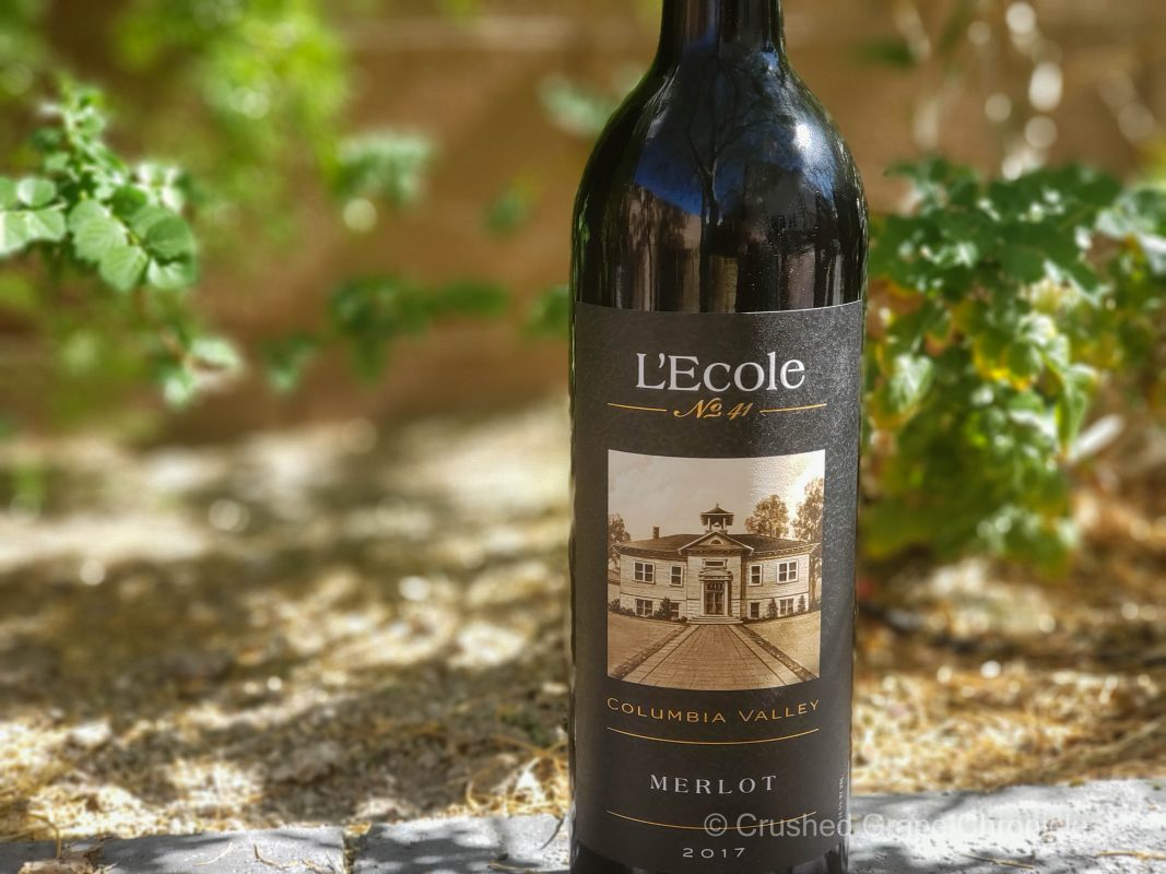 L'Ecole No 41 Merlot 2017 from Washington's Columbia Valley bottle shot with green