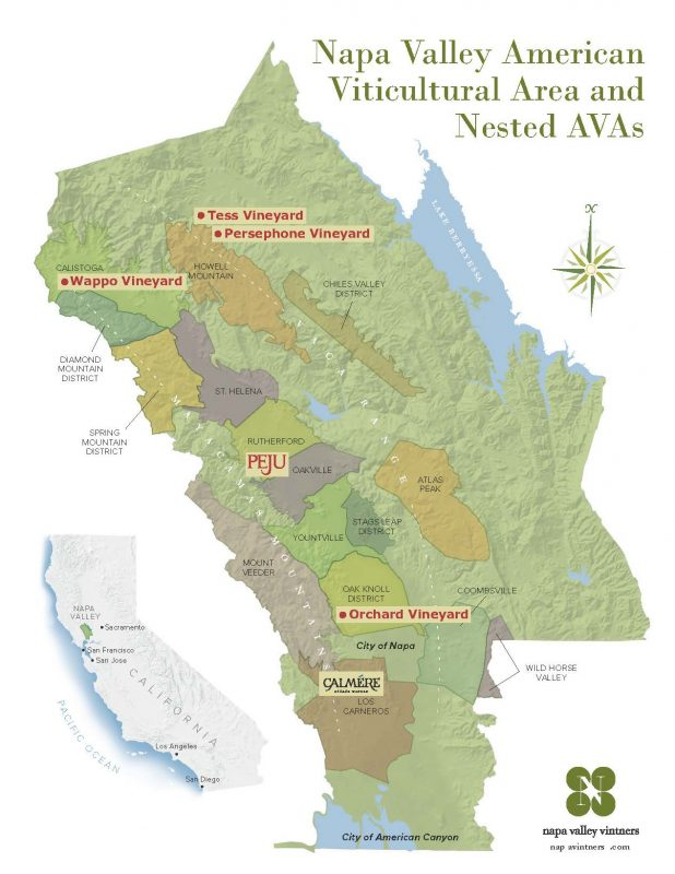 Map of Peju Vineyards - courtesy Peju Province