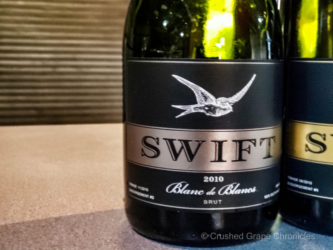 The Swift 2010 Blanc de Blancs the sparkling wine label for Printhie Wines in Orange NSW