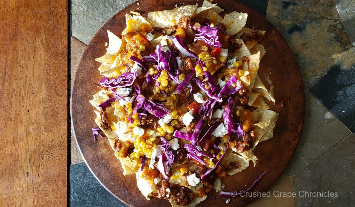 Pulled porke nachos with purple cabbage