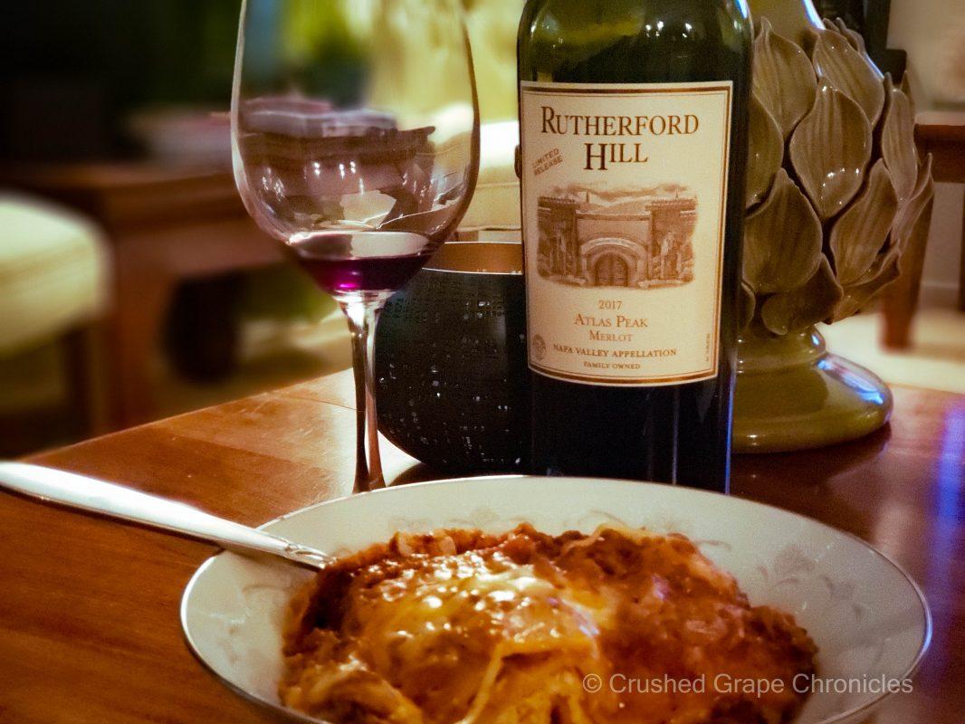 Rutherford Hill 2017 Atlas Peak Merlot with lasagna