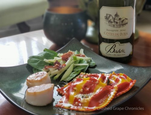 Benoit Badoz 2011 Cotes du Jura Savagnin with lobster ravioli, seared scallops and a salad of spinach, fennel, apple, and bacon with a lemon vinaigrette