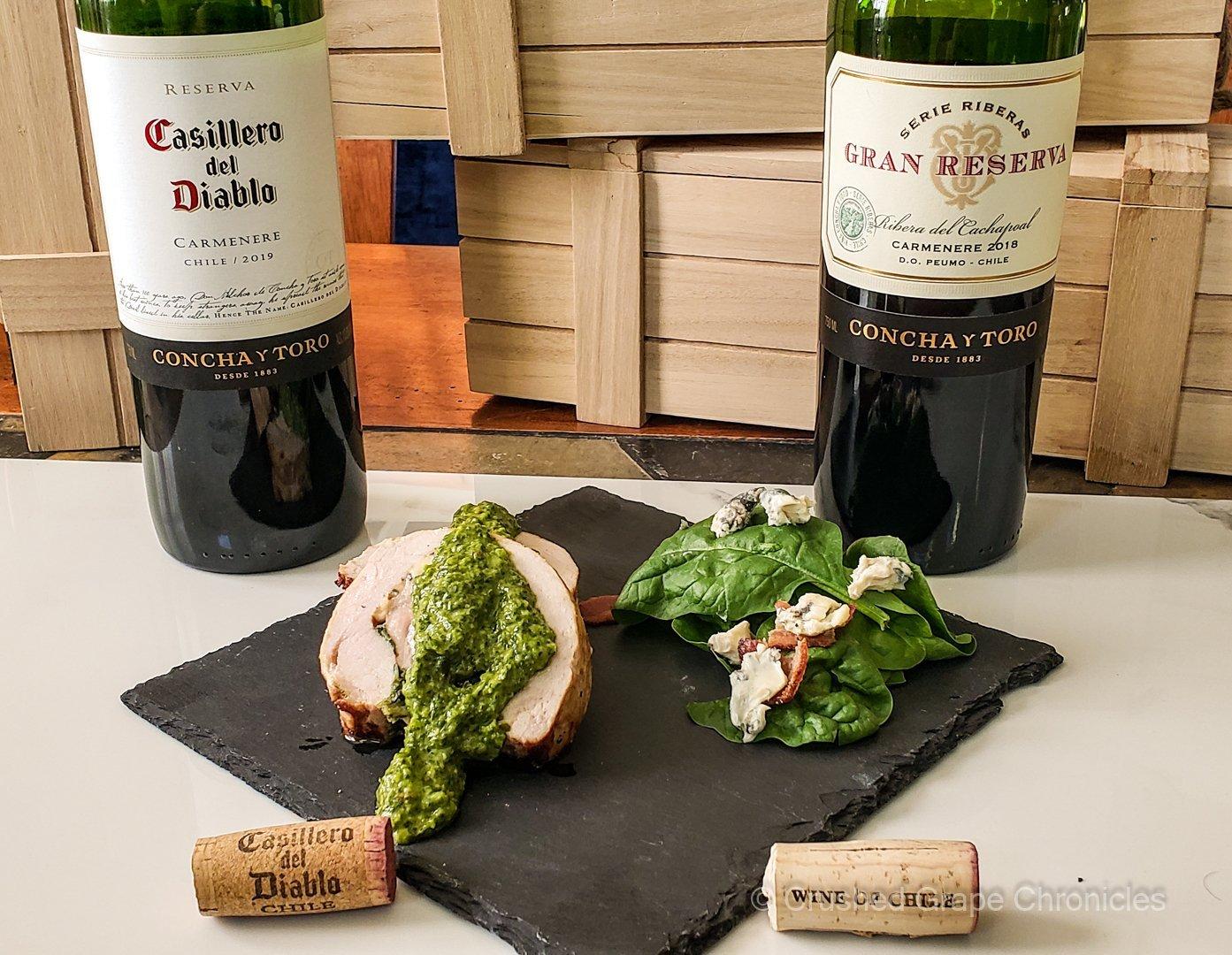 Carmenere Gran Reserva and Casillera del Diablo from Chile with Pork Loin Chimchira and salad
