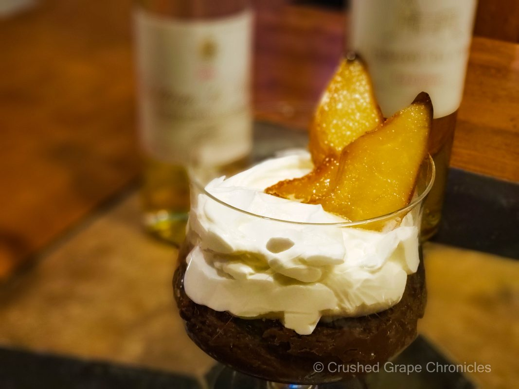 Chocolate pudding with pears and Sweet Bordeaux